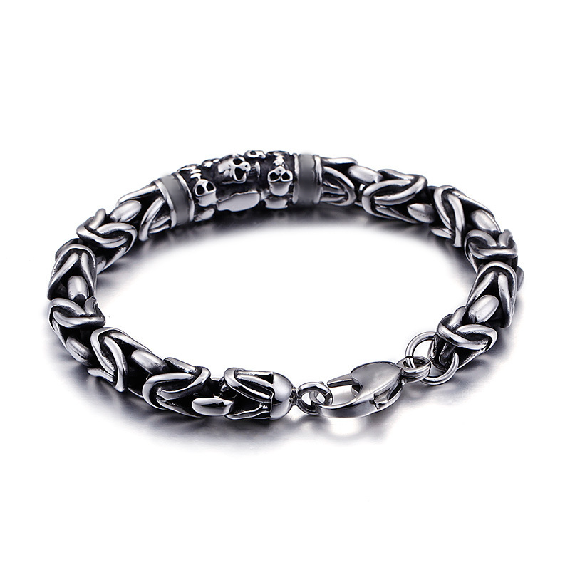Fashion-Punk-Skeleton-Chain-Bracelets-Stainless-Steel-Retro-Silver-Black-Skull-Safety-Pattern-Bracelets-Jewelry-For