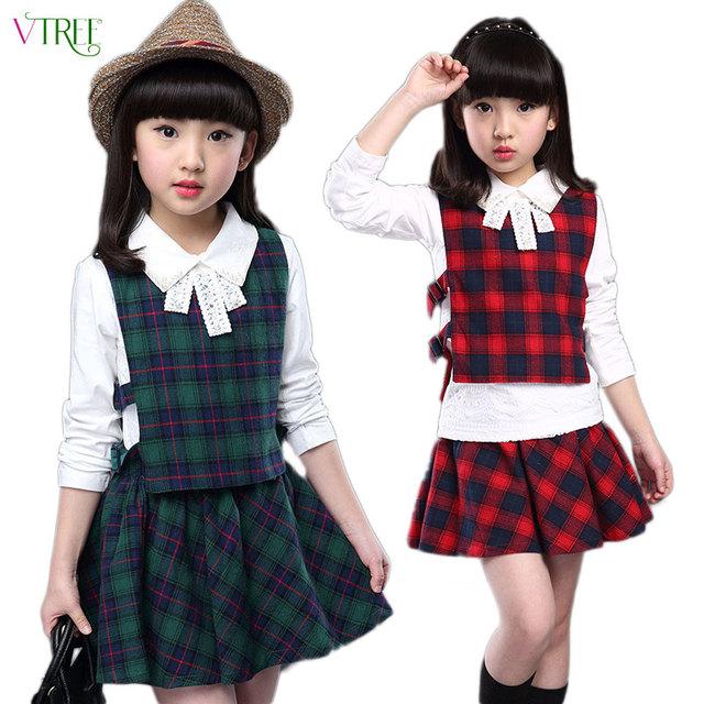 V-TREE 2016 primavera outono conjunto de roupas meninas de algodão xadrez 3 pçs/set uniforme escolar meninas adolescentes roupas define ternos para meninas