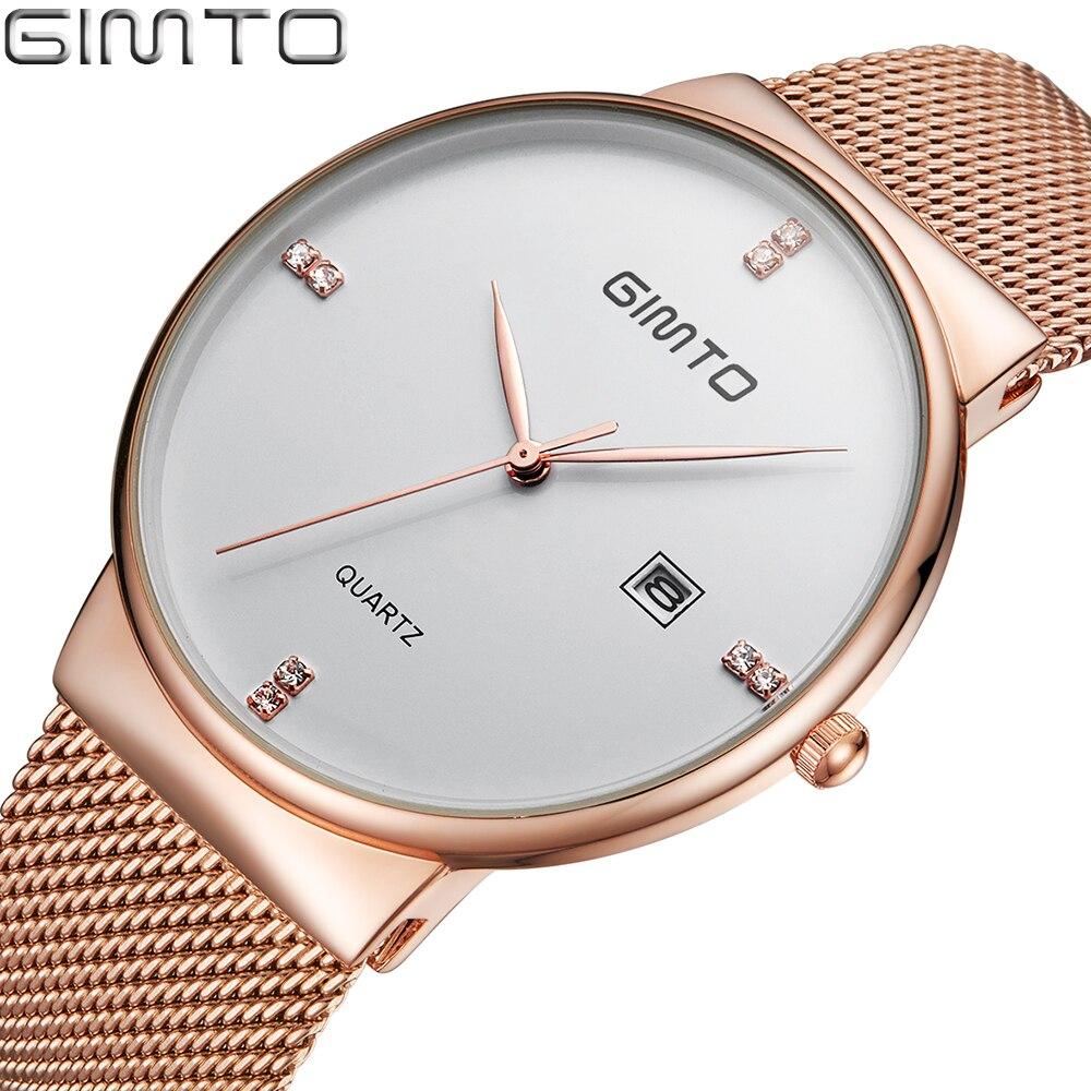 2019 Men's Quartz watch Stainless Steel Mesh Band Watch GIMTO Brand Slim men watches Multi function sports Watches relogio