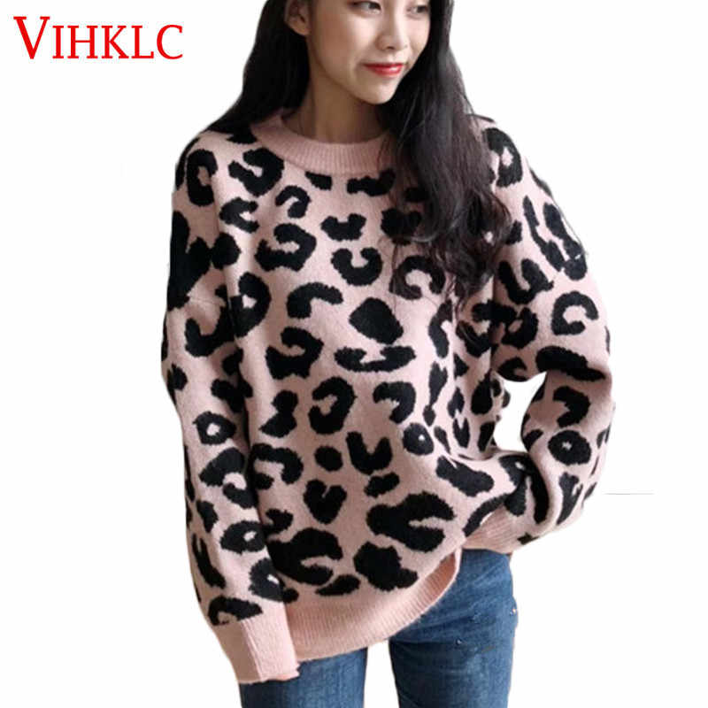 Leopard Print Sweater Women Knitted Colored  O-neck Fashion Casual Autumn Winter Loose Pullover Female Sweater Q316