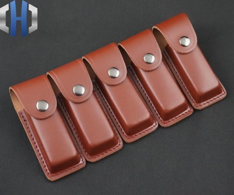 High-end embalagem coldre facas de couro embalagem presente envoltório couro caso faca dobrável bainha