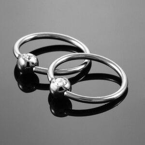 Image 3 - 50 stks/partij G23 Titanium Captive Bead Ringen CBR met Clip Gem Bal Nep Piercings Neus Oorbel Tragus Tepel Ringen Body sieraden