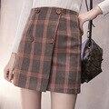 Осенью и зимой женщины колледж ветер дикий каваи моды решетки кнопка шерстяные Ретро Высокой талии линии юбка Пакет бедра юбка