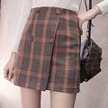 autumn and winter women college wind wild kawaii fashion lattice button woolen Retro High waist a-line skirt Package hip skirt