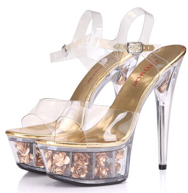 Office & School Supplies The Best Platform Women Shoes 2017 Transparent Ultra High Heels 15 Cm Waterproof Flowers Sandals Sexy Big Yards Dance Shoes