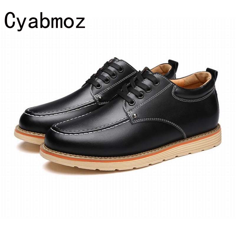 Mens New Fashion Casual Shoes Invisible Elevator Oxfords Height Increasing Round-Toe Leather Shoes Taller 6 cm Single Shoe Male