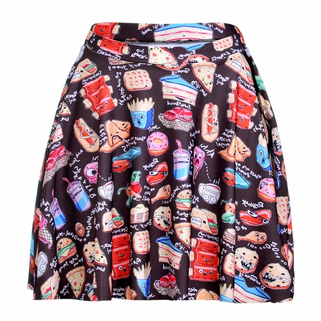 95c68d7e1ae 1125 Summer Women Plus Size Pleated Mini Skater Skirt Sexy Girl Cheerleader  TuTu Skirt Yummy Party Food chips hamburger Prints