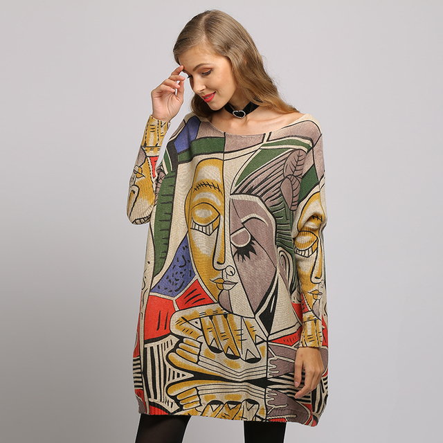 XIKOI Sweater Woman  Casual Oversize Long Batwing Sleeve O-Neck Knitted Fashion Pullovers Abstract Print Clothes 4