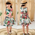 2016 Girl with Floral Dress and Belts Children's Wear Cotton 100% Comfortable Pastoral Style Princess Sleeveless Vest Dresses