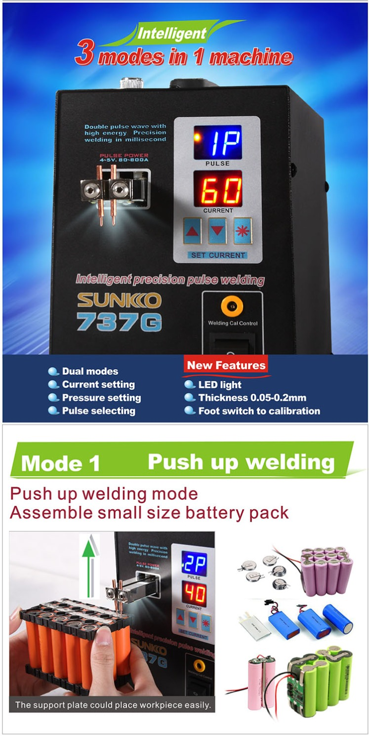 Tools : 737G LED Light Protable Battery Spot Welder Dual Modes 0 05-0 2mm Weldability Intelligent Precision Pulse Spot Welding Machine