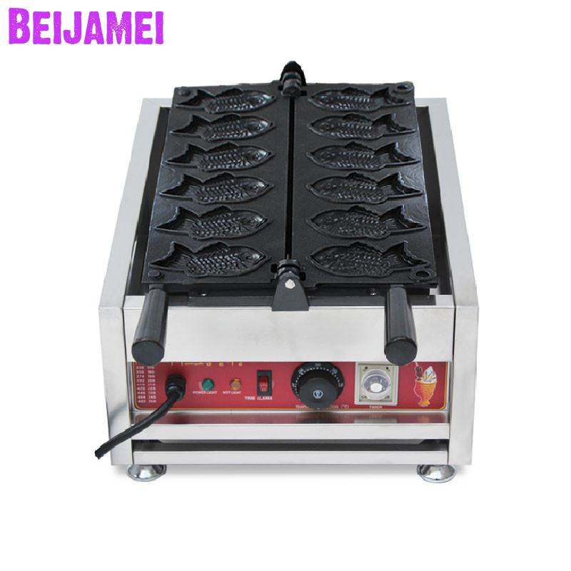 Beijamei Commercial Use Nonstick 110v 220v Electric 6pcs/time Fish Shaped Taiyaki Machine Korean Taiyiaki Maker Price Latest Technology Cooking Appliances