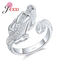 JEXXI 925 Sterling Silver Rings For Women Man Lovers Chinese Style Dragon Adjustable Size Animal Design