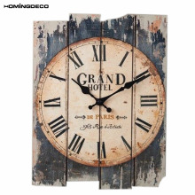 Homingdeco European Style large wall clock vintage  Roman Numeral Silent Rectangle Living Room Livingroom club bar Wall Clock
