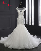 Jark Tozr 2018 New Arrive China Bridal Gowns Open Back Appliques Beading Tulle Lace Noble Mermaid