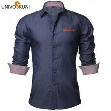 UNIVOS KUNI Men Shirt Denim Shirts Casual Long Sleeve Fashion Slim Fit Business Camisa Jeans Masculine EU Size S-XXL Z1920