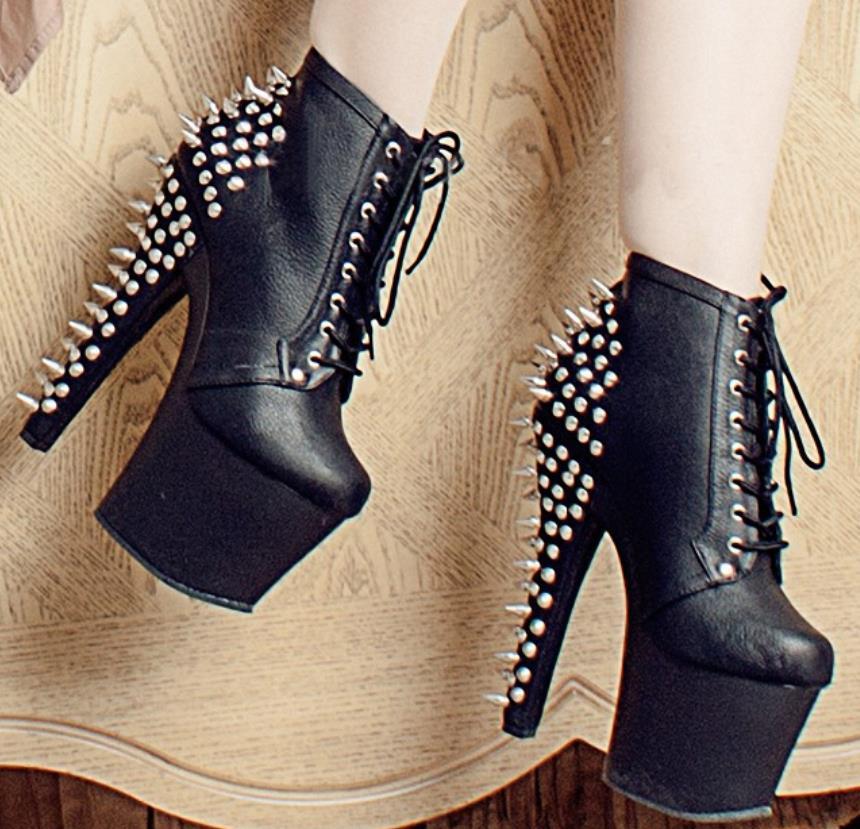 Super Pour Mode Nouveau Noir Table Printemps Femmes Talon Haute Cm 17 Polyvalent 46 Étanche Rivet Chaussures De Grande Le 2019 34 L'automne Et Taille 8U8rX