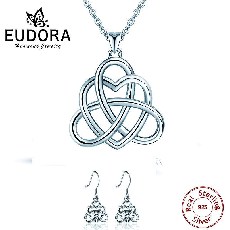 EUDRA Sterling Silver Celtics Love Knot Geometric Pendant Necklaces&Earring Lucky Love Heart Fine Jewelry Sets For Women gift