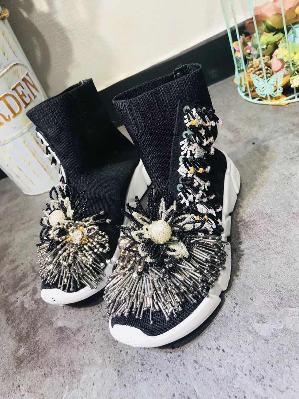 2018 diy Korean version of the new rhinestone tassel flat bottom cake casual  knit elastic socks a0b70e6ceb77