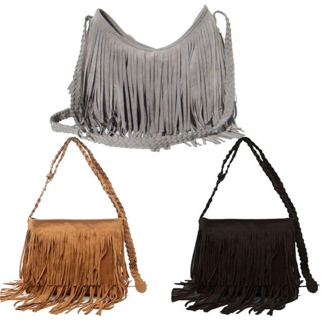 2017 Fashion Women S Suede Weave Tassel Shoulder Bag Messenger Fringe Handbags L9