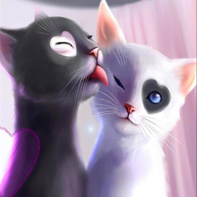 Czarno Biały Kot Obraz 5d Diament Haft Zestawy Cross Stitch Home