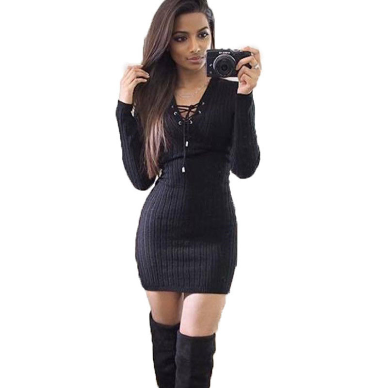 2018 New Fashion Women Sexy Casual Long Sleeve V-Neck Slim Knitted Black Dress Package Hip Pencil Dress Party Dress new 2017 hats for women mix color cotton unisex men winter women fashion hip hop knitted warm hat female beanies cap6a03
