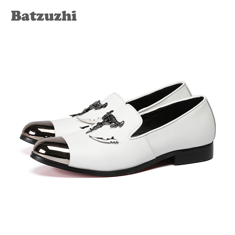 Italian Luxury Men Shoes Silver Top and Metal Toe Men's Dress Shoes Genuine Leather Men Shoes White Wedding Flats Men,US12 EU46 genuine leather formal men shoes metal pointed toe men dress shoes italian designer wedding men shoes luxury men flats plus size