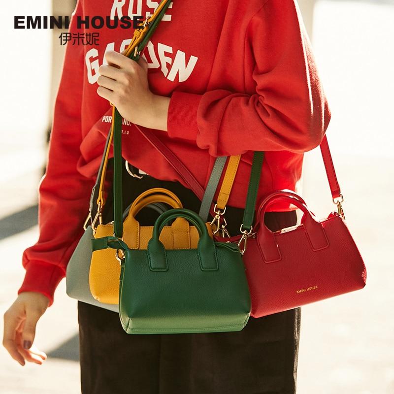 EMINI جلد طبيعي Crossbody حقائب للنساء حقيبة يد فاخرة حقائب النساء مصمم متعددة الألوان السيدات حقيبة كتف-في حقائب الكتف من حقائب وأمتعة على  مجموعة 1