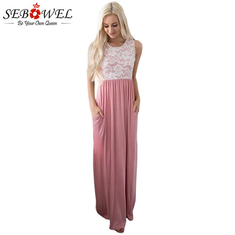 242a5a51db894 SEBOWEL Floral Lace Top Pleated Elegant Long Party Dress Women Tunic Floor  Length Formal Dress Sleeveless Summer Maxi Dress