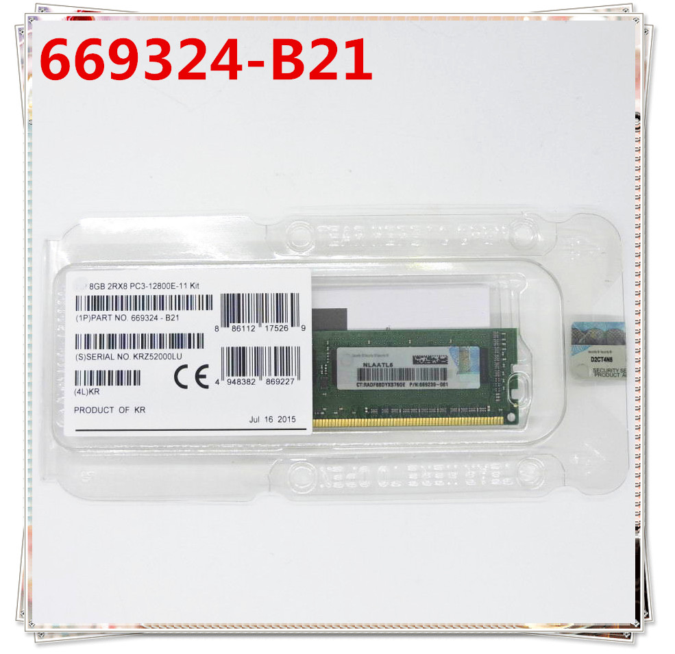 Box 669324-B21 PC3-12800E for 669239-081 8G 2rx8/Pc3-12800e/Ddr3/.. in New Original