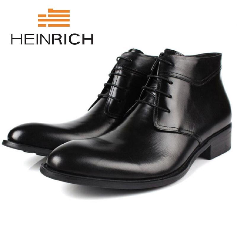 Hiver Heinrich vin Hommes Black Main Haute Automne En Qualité Hauteur Bottes À Véritable La Chaussures D'hiver Cuir Augmenter Rouge Cheville 3RA5Lqc4j