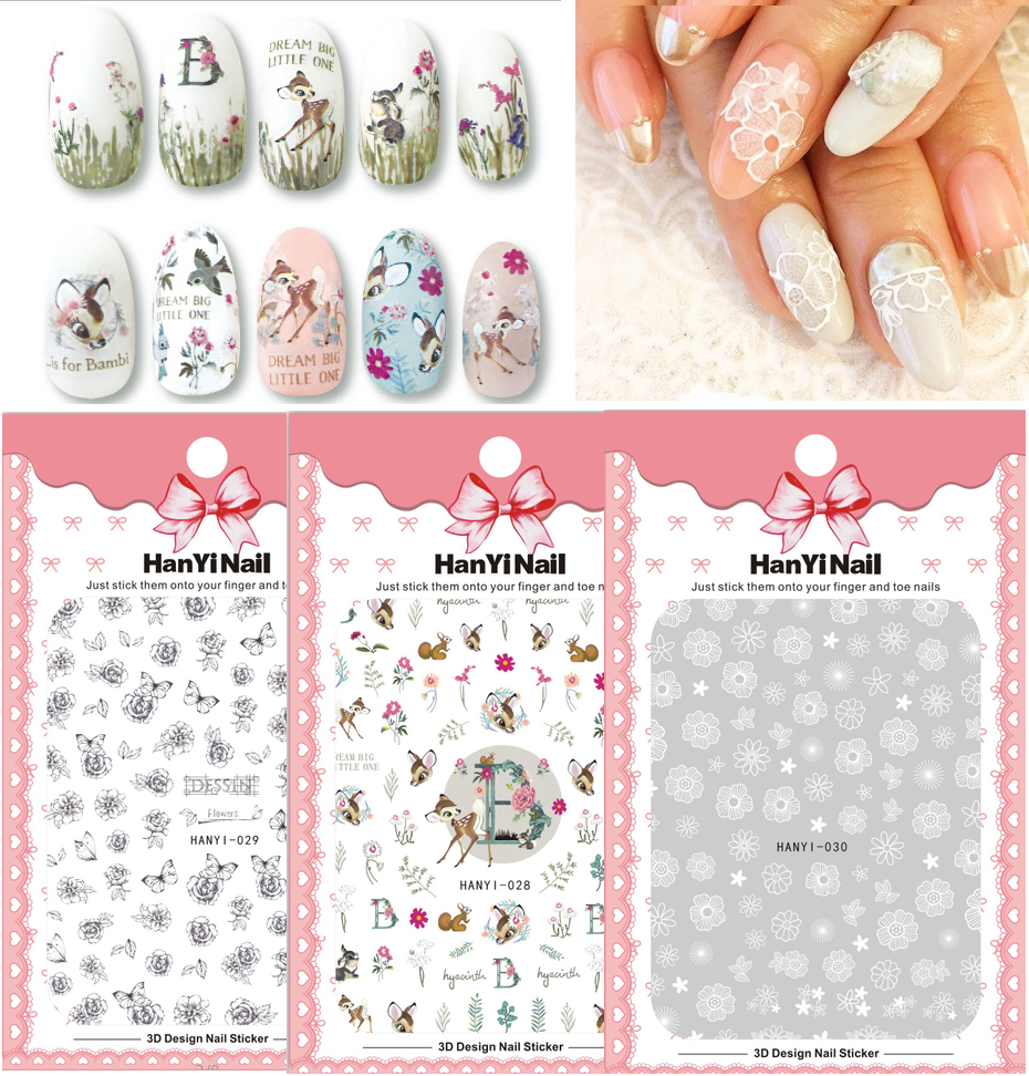 HanYiNail 028 047 Vintage Jesus Gold Fantacy Flowers Bear Nails Art Sticker Harajuku Nail Wrap Sticker Tips Manicura stickers in Stickers Decals from Beauty Health