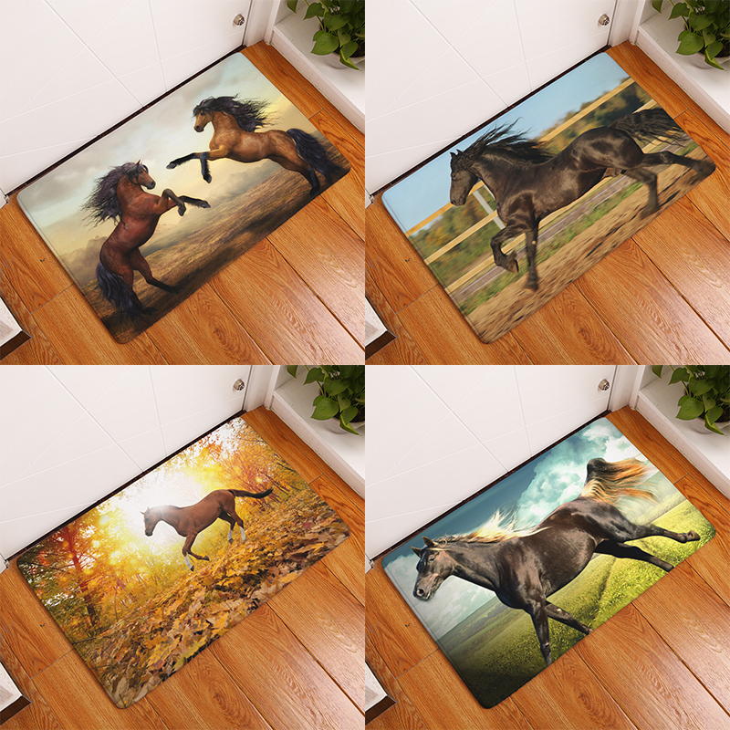 homing new arrive welcome home hallway flannel mats cool horses pattern rugs rectangular waterproof light carpets for bedroom