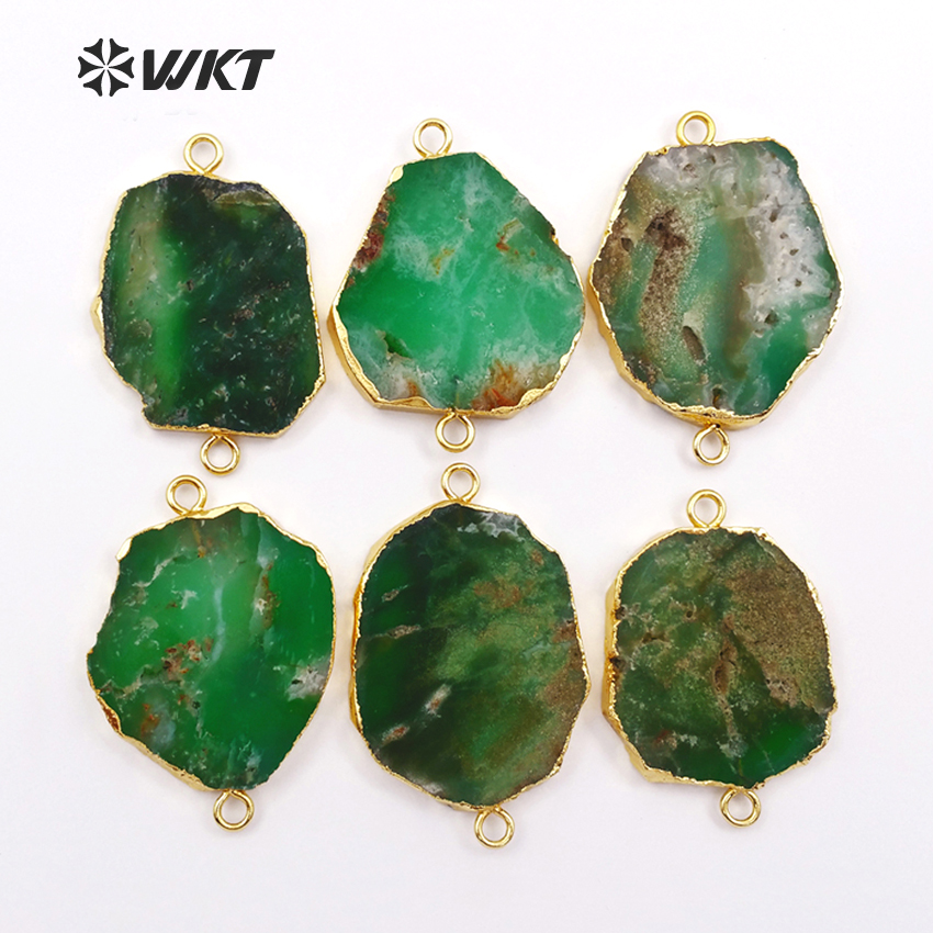 WT-C171 HOT SALES double loops Chrysoprase connector , 24k gold trim dark green natural chrysoprase connector jewelry