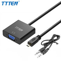 TTTEN Micro HDMI to VGA Adapter Converter Cable Analog Video Audio with 3.5mm aux interface for Xbox 360 PS4 PC Laptop TV Box