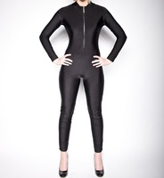 Women Adult Front Zipper Lycra Unitard Spandex Bodysuit Womens Long Sleeve Unitard Zentai Body Suit Catsuit Dance Leotard