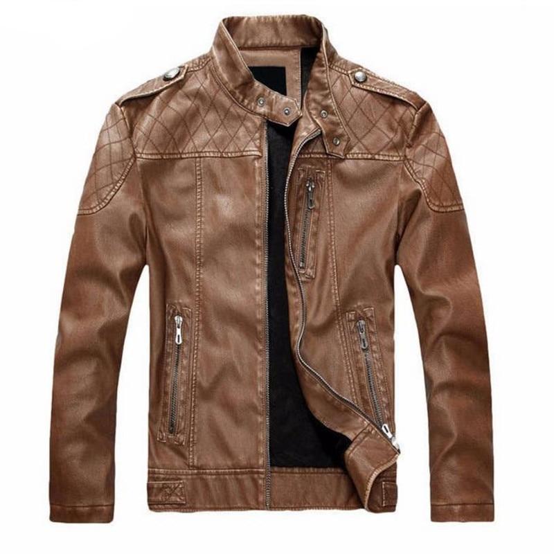 New Mens motorcycle leather European style plus velvet leather jacket men jaqueta de couro masculina leather jacket coat
