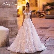 אשלי קרול אונליין חתונת שמלת 2020 חשופות גב כתף חרוזים תחרה אפליקציות נסיכת הכלה שמלות חוף כלה שמלה