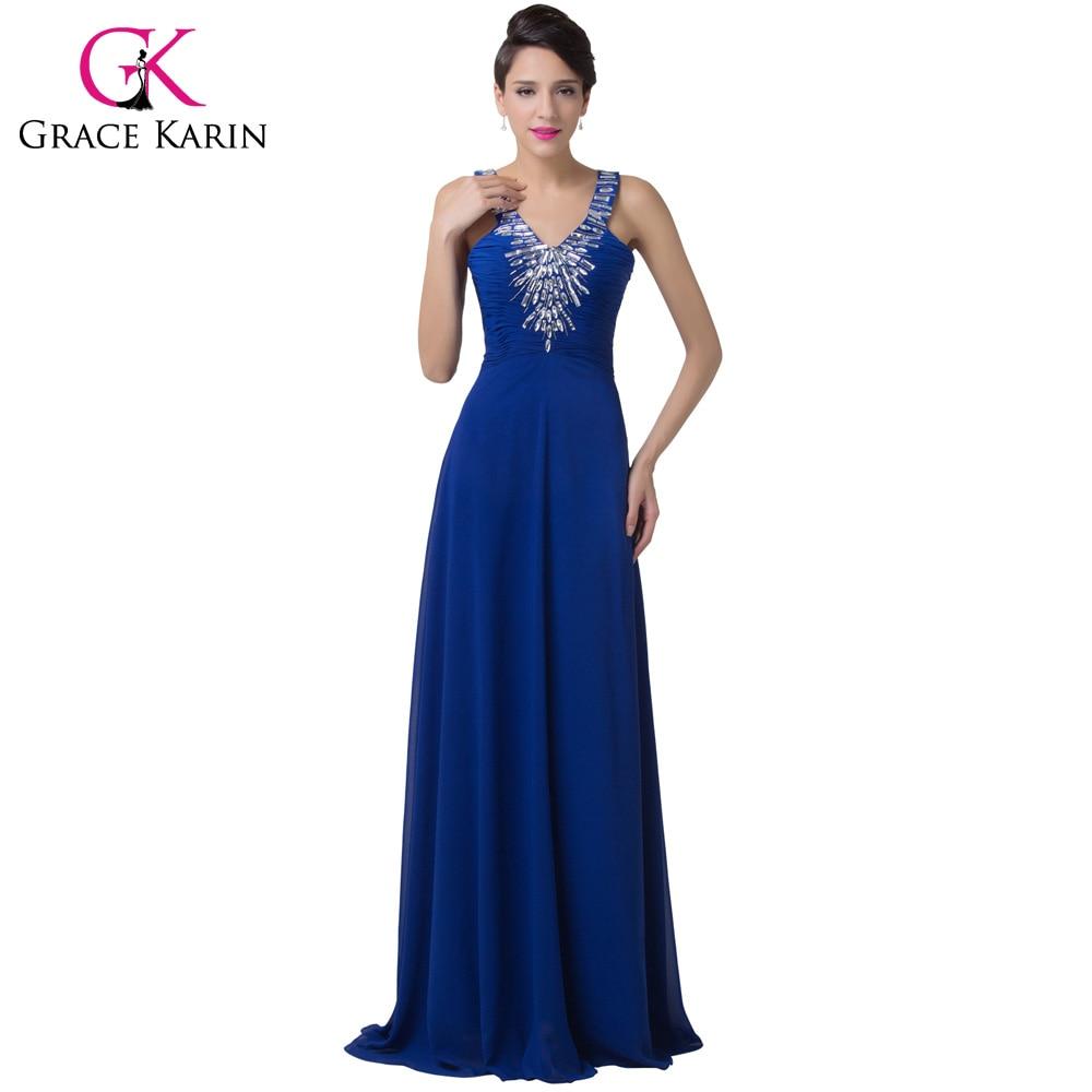 Long Red Evening Dresses Grace Karin 2018 Elegant Chiffon Beaded ...