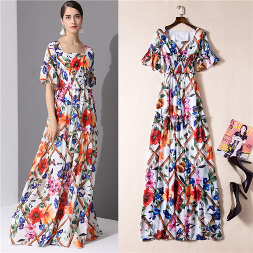 1e7d7d231b Women 2017 Autumn 2018 Spring Floral-printed Long Maxi Dresses High Quality  Runway Chiffon Floor Length Dress Smocking Waist