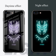 Luminous Phone Case For iPhone XR XS Max X 8 7 6S 6 Plus Tempered Glass Case Avengers Batman Captain Ameria Patterned TPU Cover