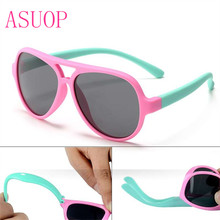 ASUOP 2019 newTR90 fashion boys and girls polarized sunglasses soft silicone retro brand design UV400 pilot glasses