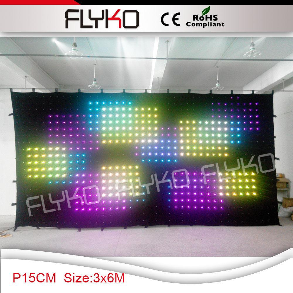 110V 3x6m led light stage backdrop video curtain P15