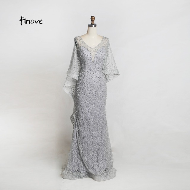 Finove Champagne Vintage Mermaid Evening Dress 2019 New Arrivals Pearls Embroidery Dress With Cloak Elegant Woman Party Dress