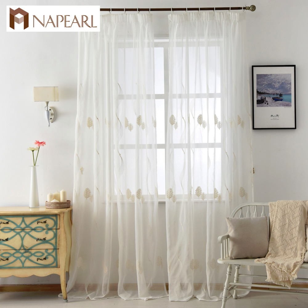 embroidered linen tulle curtains white sheer fabrics leave design home textile christmas window curtain kitchen door