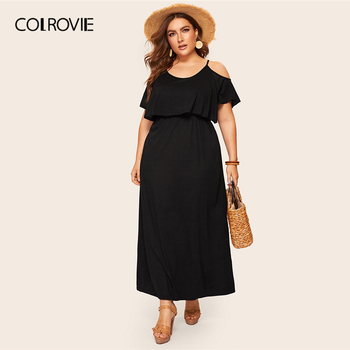 COLROVIE Plus Size Cold Shoulder Solid Maxi Dress Women 2019 Summer Casual Short Sleeve High Waist Elegant Office Ladies Dresses