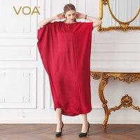 VOA красный плюс Размеры 5XL свободные более Размеры d Для женщин макси длинное платье хиджаб рукав «летучая мышь» шелка мусульманские Повседн