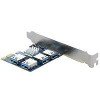 New 4 Slots PCI E 1 To 4 PCI Express 16X Slot External Riser Card Adapter