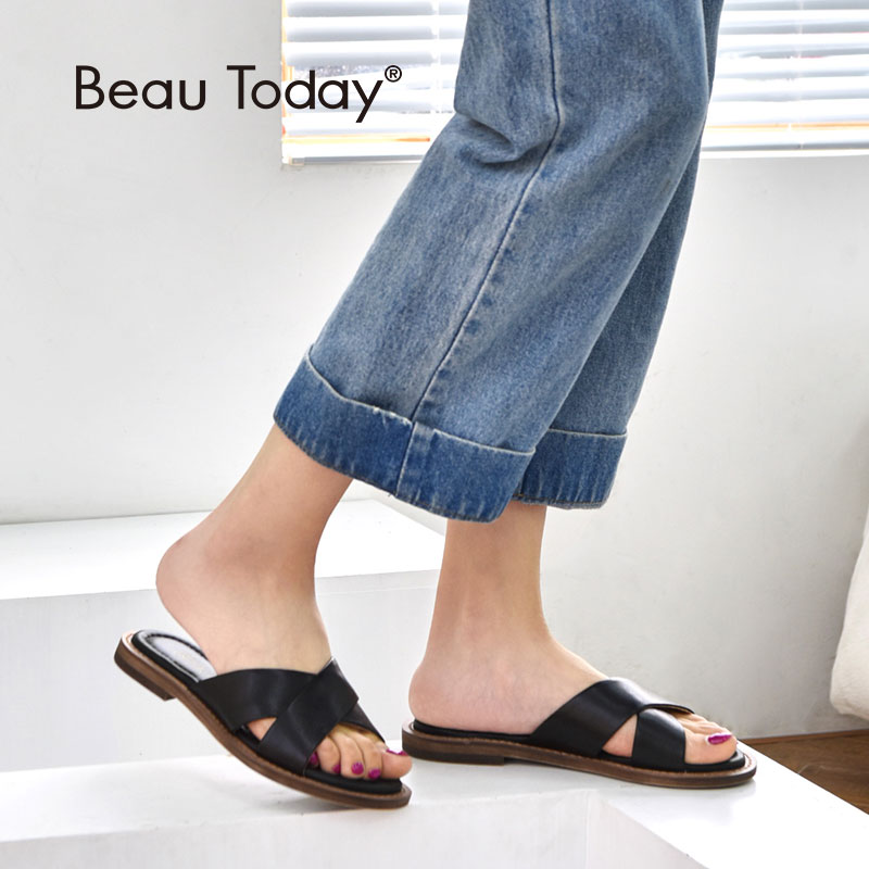 BeauToday Women Summer Slippers New Arrival Genuine Cow Leather Indoor and Outside Flat Slides Handmade 36090