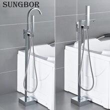 Bath Tub Faucet Floor Mounted Chrome Waterfall Bathtub Mixers Freestanding Hot Cold Water Bath Shower Set Hand Shower HD-2878L