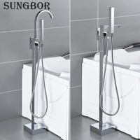 Bath Tub Faucet Floor Mounted Chrome Waterfall Bathtub Mixers Freestanding Hot Cold Water Bath Shower Set Hand Shower HD 2878L
